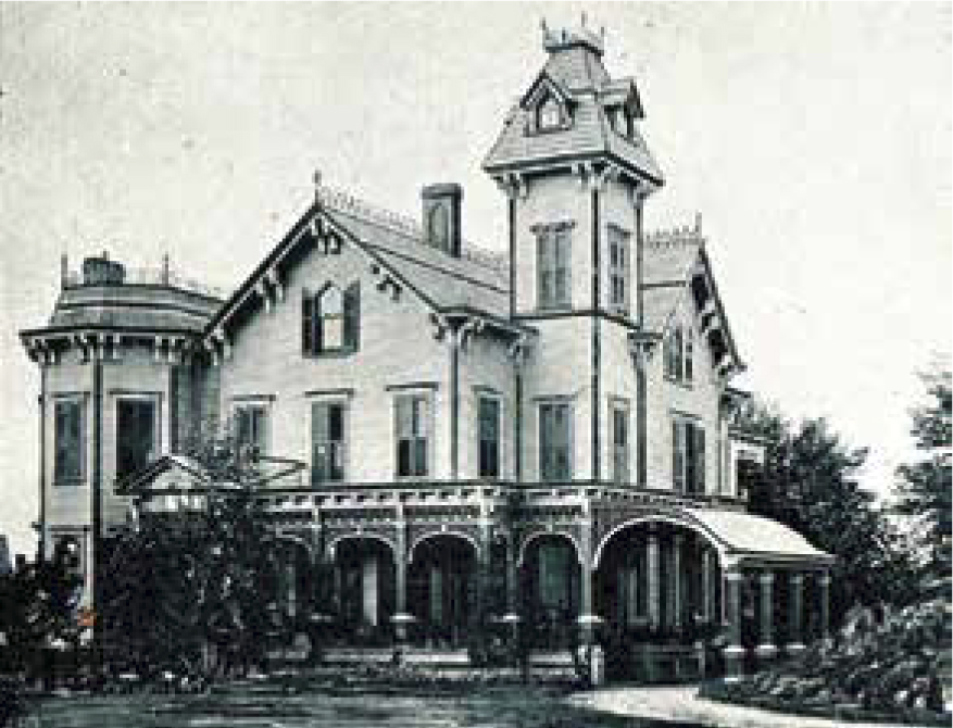 "The Floral Park residence of John Lewis Childs and Caroline ""Carrie"" Goldsmith married in in 1886. The family lived in their Victorian mansion on Tulip Avenue, hosting notable celebrities of the day. The mansion was located at 91 Tulip Ave."